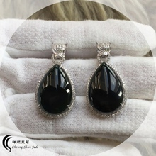 Grade A natual Jewellery Imperial Translucent Black Omphacite- Jadeite rain drop shaped earings