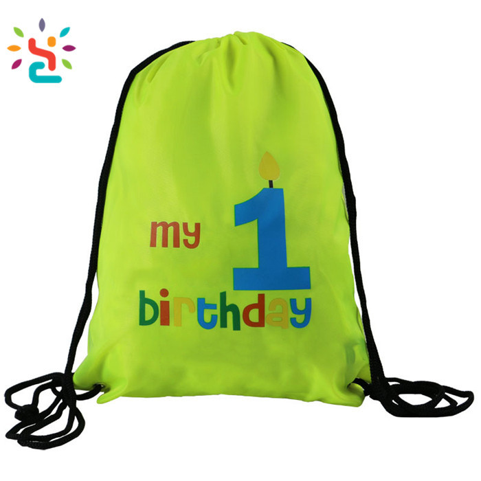 Shopping bag own printing my 1 birthday yellow nylon products sport bags, gymsack drawstring bag