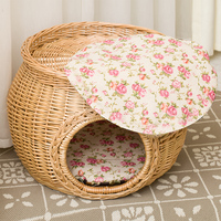 Eco-friendly pet wicker house round willow pet baskets with cushion