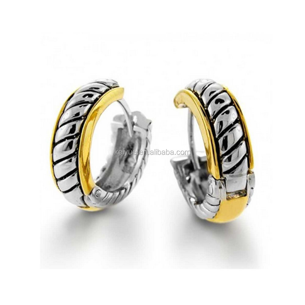Three Tones black and yellow gold Plated Huggie Hoop Earrings men women