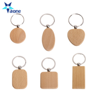 Custom Name Logo Printed Promotional Gifts Natural Wooden Key Ring Keychain Round Square Anti Lost Wood keychain