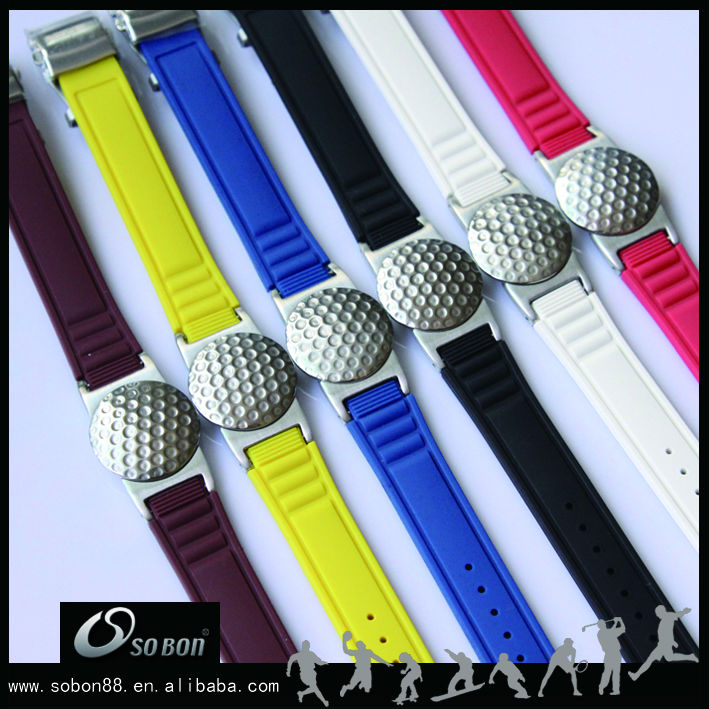 colorful silicone band with ball marker bracelet unique golf ball markers