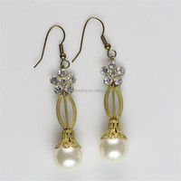 Latest Fashion Earrings Fresh Water Pearl Earrings Rhinestone Jewelry Wholesale china