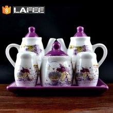 5pcs tableware set teapot salt pepper shaker and canister for tableware decoration
