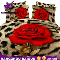 Beautiful Leopard and Big Red Rose 3D Adult Bedding Set