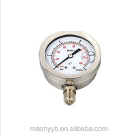 hydraulic all stainless steel NPT thread and BSP thread aseismatic temperature pressure gauge