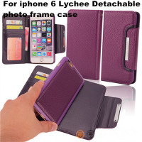 Lychee Pattern Detachable Muctifunction Wallet leather Case For Iphone 6 With photo Frame