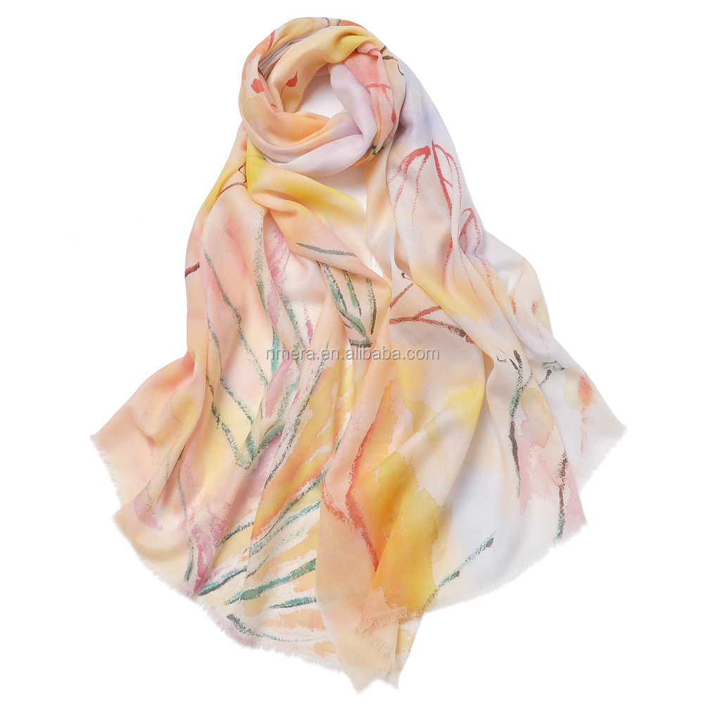 fashionable custom-made water soluble wool hand-painted shawl SWR0005