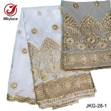 Wholesale soft embroidery silk indian george lace fabric with sequins