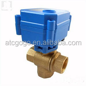 mini motorized ball valve 2,3,5 wires control DN15 1/2 inch electric actuator 3 way ball valve