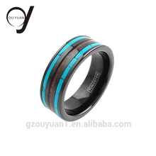 Alibaba 8mm Turquoise Tungsten Rings Custom Engraved Ring with Koa Wood Inlay