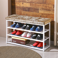 3 Layer utility shoe rack Shoe fitting chair stool