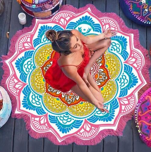 beach towel with hoodies sublimation print customer design beach towel Round Mandala mats printed round beach towel