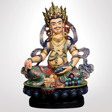 Painted wooden Buddha Tibetan Buddhism religious crafts Wood Carving Sculpture Antique home decor ornaments
