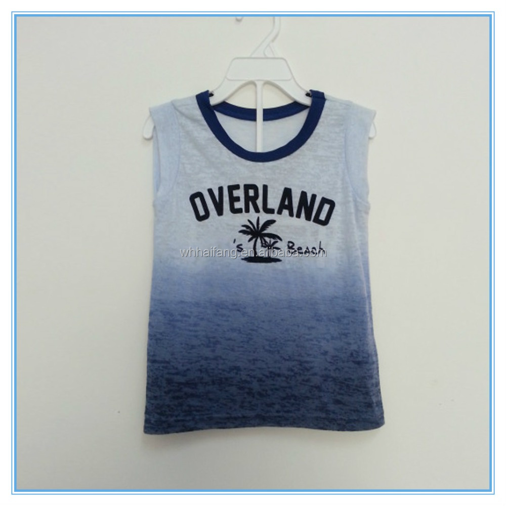 Custom ocean printed tank top vest sleeveless t shirt for Personalized t shirts for kids cheap