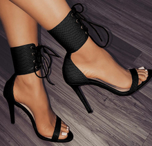 Black fashion women dress shoes high heel ankle strap high heels