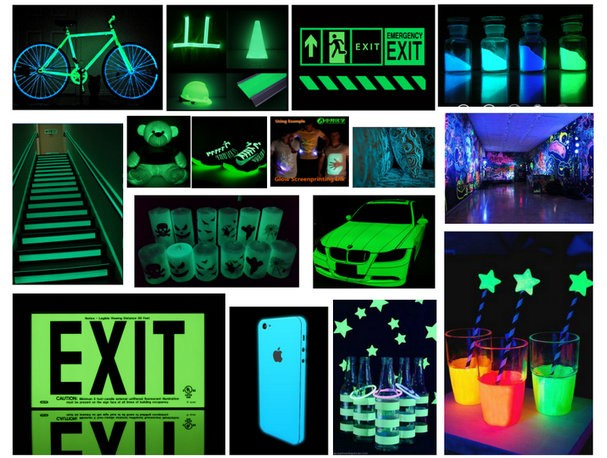 photoluminescent pigment plastic sign board pigment glow in the dark