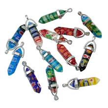 Pencil Silver Tone Flower Carved Lampwork Glass Seven Chakra Stone Pendants