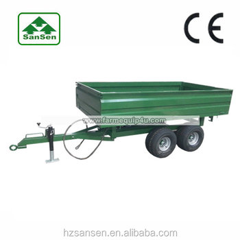 Hydraulic dump trailer ,off-road farm trailer in agriculture , Double axle trailer