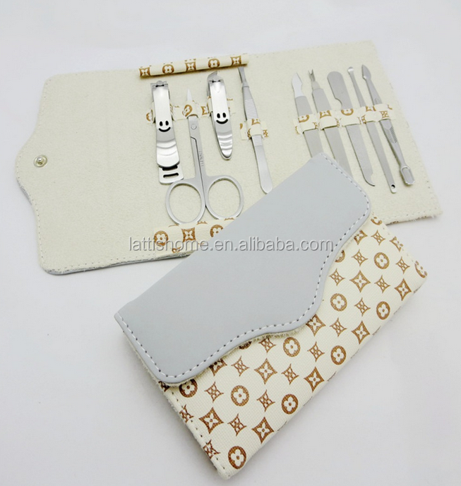 High quality travel wallet shape 9pcs manicure pedicure set with 2 nail clipper nail file pimple pin and etc