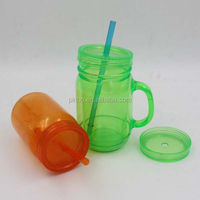 Plastic Mason Jar Tumbler With Handle And Straw
