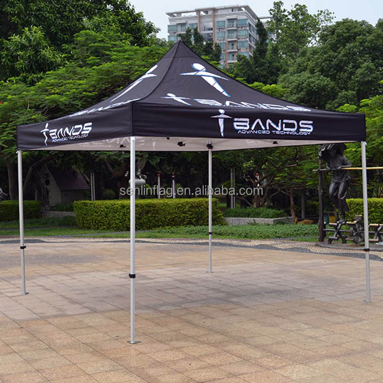 Customer OEM Logo Words Silk Screen Printing Black Rooftop Canopy Quick Set Tent
