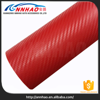 Air Free Car Wrapping Film Red 3D Carbon Fiber Vinyl Roll