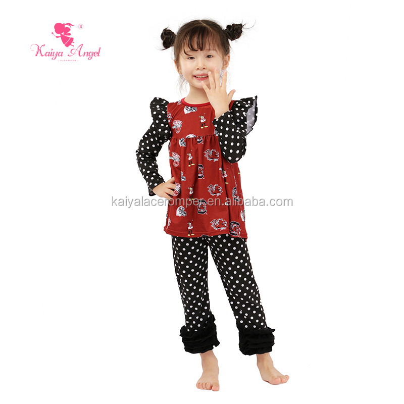 Long Sleeve White Polka Dot Printed Pants Suit Baby Girl Boutique Fall Winter Outfits