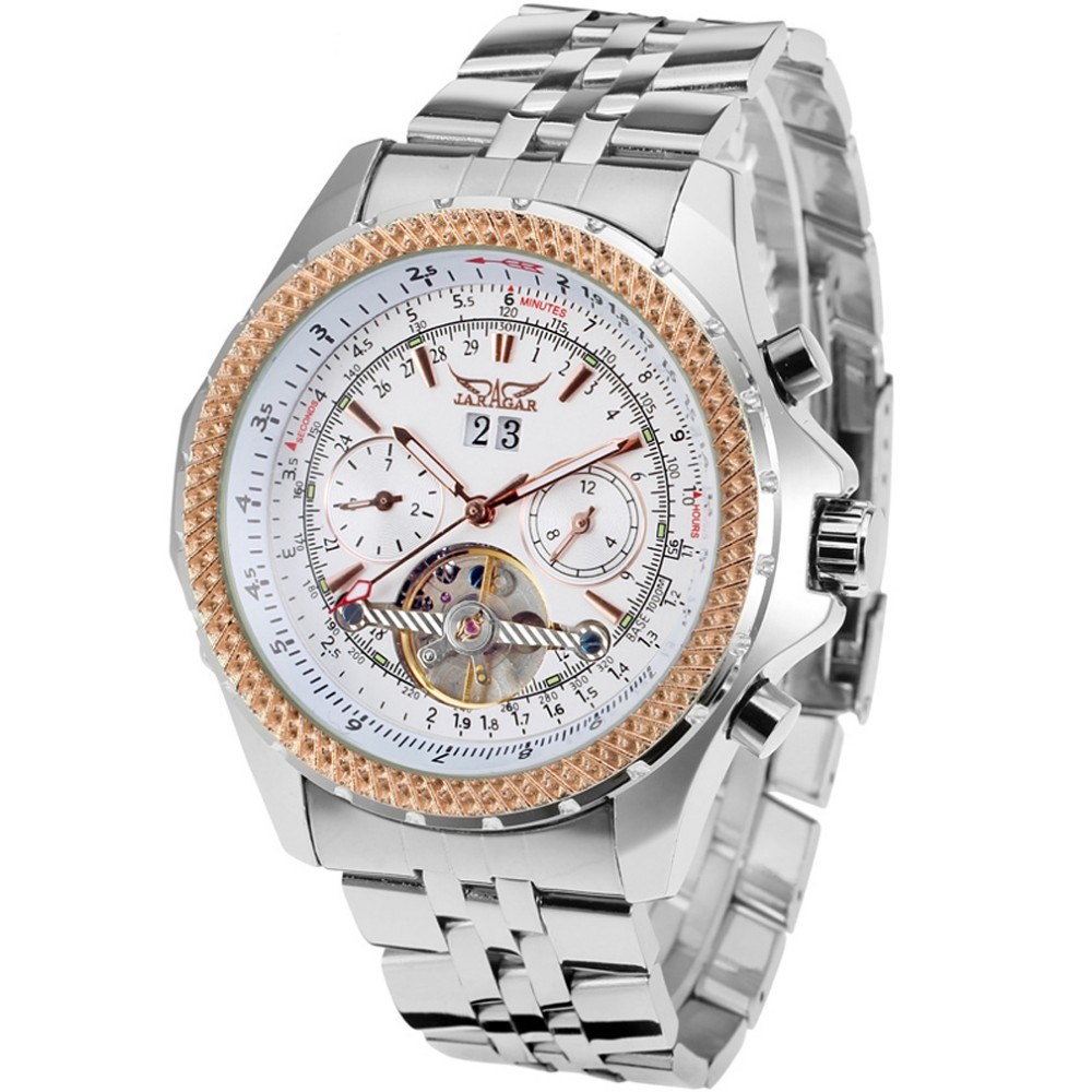 Jargar Men Luxury Automatic Gold Watch With Tourbillion Stainless Steel Material Bracelet Saat Man