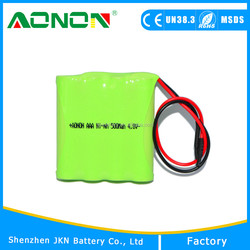 High quality ni-mh rechargeable battery aa 4.8v 1200mah with Long cycle life