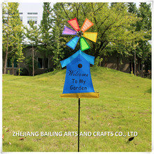 2017 hot sale mini bird house fabric and plastic garden windmill