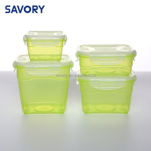 Beautiful package 4 pieces plastic food removable container, custom made food storage container
