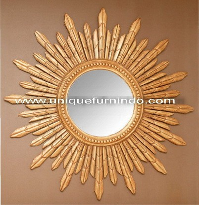 Beautiful Antique Wooden Carved Beveled Glass Wall Sun Mirror for Home Decorative