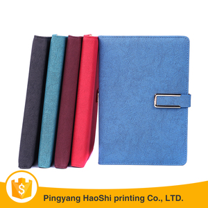 Custom design business gift pu leather journal diary notebook with buckle