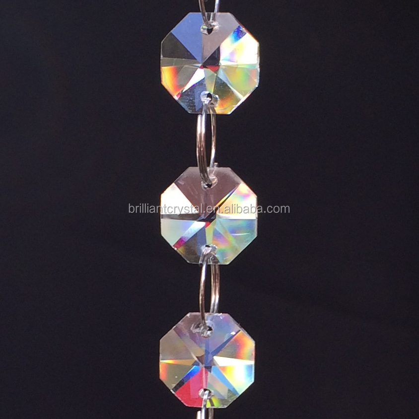 hanging crystal octagon beads chandelier chain garland string