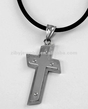 Stainless Steel / Black Cord / Cross Pendant / Men's Necklace