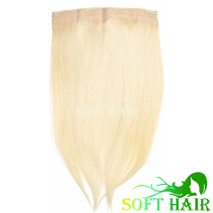 Wholesale 8A european remy human hair blonde color 613 8inch wide 40gram/set thick and volume quad weft clip in hair extension