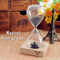 CT-469 Magnetic Glass hourglass 3.5minutes iron hourglass on the desk creative Magnet Hourglass