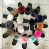 New products fuzzy sandal faux fur slipper women