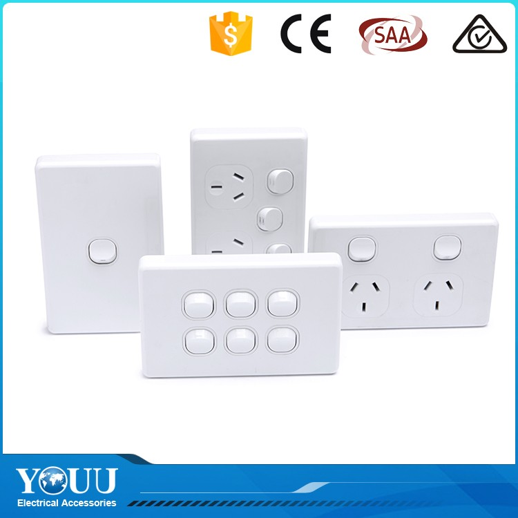 2017 New 1 Gang Australian Standard Power Point Electrical Wall Switch And Socket With Saa Certification