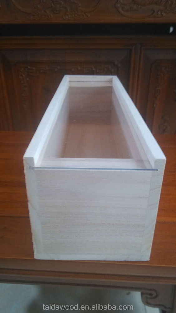 perspex sliding lids , wooden display wine boxes