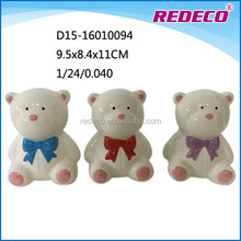 Wholesale cute small ceramic teddy bear statue for gift