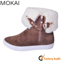 Flat sneaker White fur ladies snow boots snow boots women warm snow boots