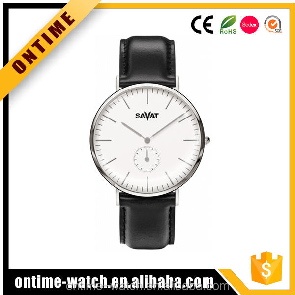 Unique design double domed sapphire crystal glass steel custom logo watch