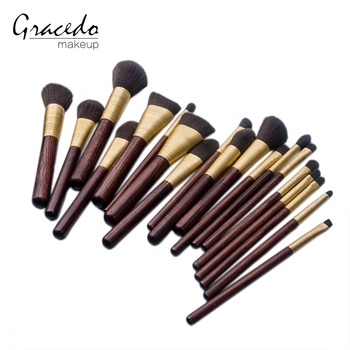 MAC vogue series 19pcs wooden handle makeup brushes set eye concealer foundation eyeshadow cosmetic brushes