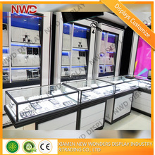 Luxury lockable glass display cabinet jewelry shop & showroom display furniture