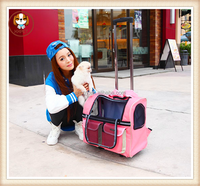 Pet draw-bar box breathable pet stroller small dogs folding cart bag portable dog carrier