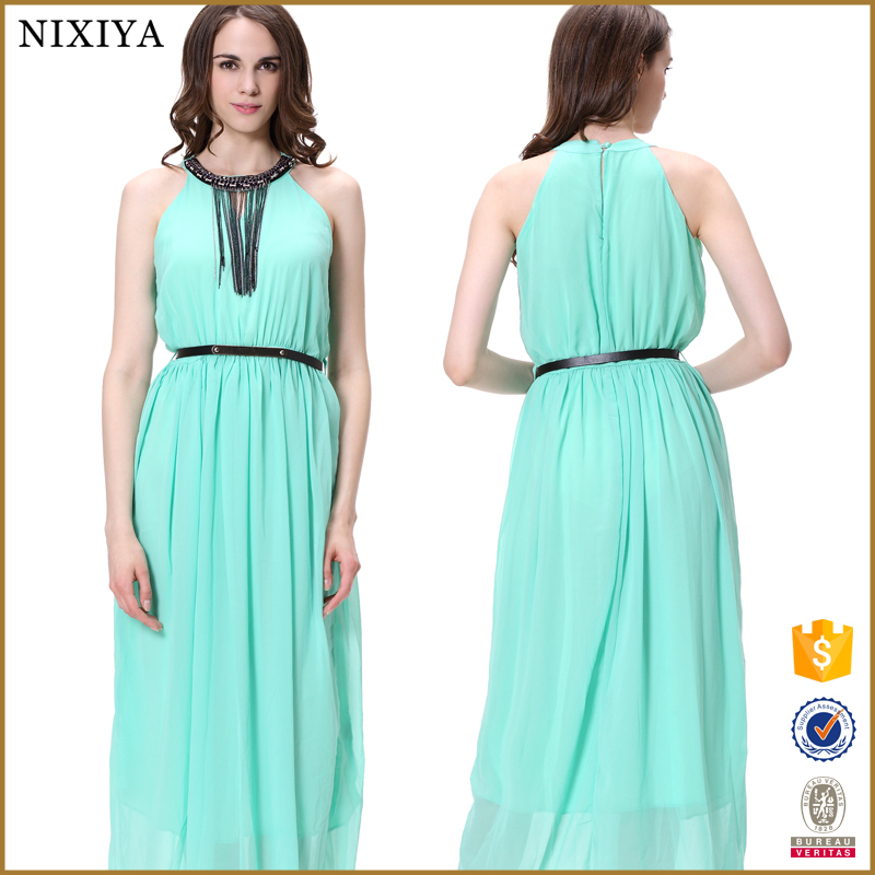 Tassel Rivets Neck Chiffon Maxi Dress Chinese Clothing Suppliers