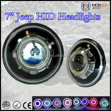 "Hot sell off road halo ring headlight!7"" jeep wrangler hid projector headlights,bi-xenon hid projector lens light angel eyes"