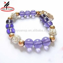 gemstones color bead bracelet with shamballa crystal clay ball